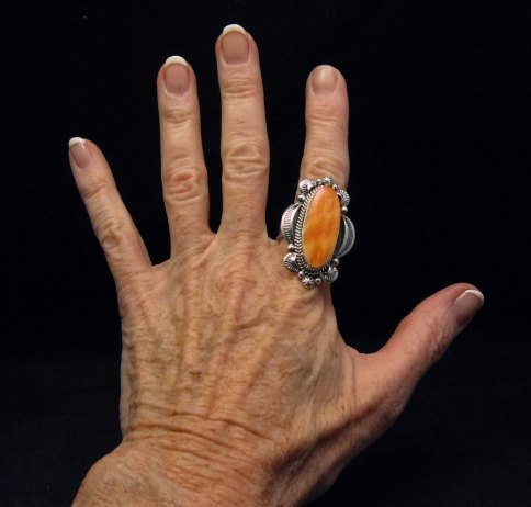 Image 2 of Navajo Handmade Silver Spiny Oyster Ring Sz12, Gilbert Tom