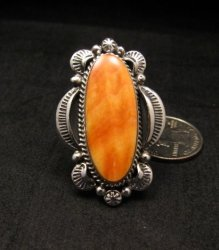 Navajo Handmade Silver Spiny Oyster Ring Sz12, Gilbert Tom