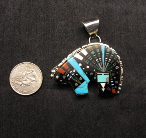 Image 1 of Native American Navajo Multistone Cosmic Bear Pendant, Ray Jack