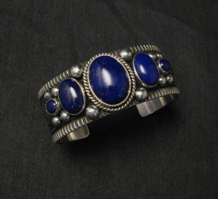Image 0 of Navajo Native American Lapis Sterling Silver Bracelet, Guy Hoskie