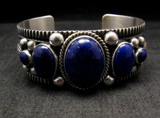 Image 1 of Navajo Native American Lapis Sterling Silver Bracelet, Guy Hoskie