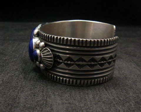 Image 4 of Navajo Native American Lapis Sterling Silver Bracelet, Guy Hoskie