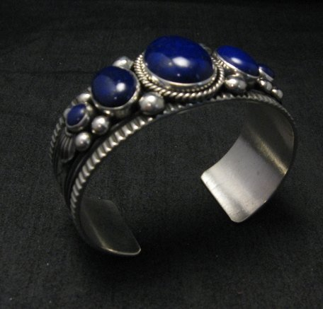 Image 5 of Navajo Native American Lapis Sterling Silver Bracelet, Guy Hoskie
