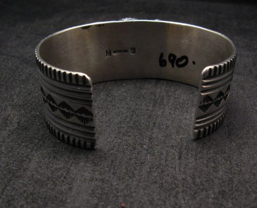 Image 7 of Navajo Native American Lapis Sterling Silver Bracelet, Guy Hoskie