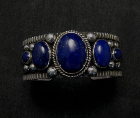 Image 2 of Navajo Native American Lapis Sterling Silver Bracelet, Guy Hoskie