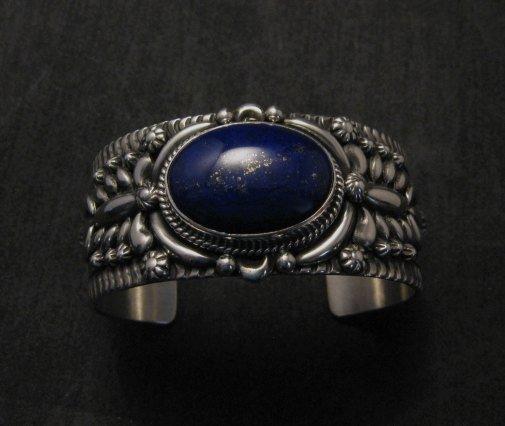Image 7 of Navajo Native American Lapis Silver Bracelet, Darryl Becenti