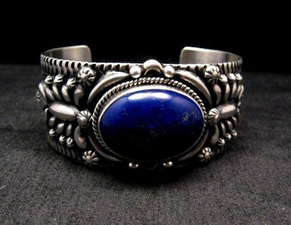 Image 1 of Navajo Native American Lapis Silver Bracelet, Darryl Becenti
