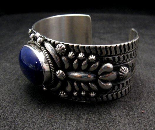 Image 2 of Navajo Native American Lapis Silver Bracelet, Darryl Becenti