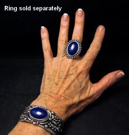 Image 5 of Navajo Native American Lapis Silver Bracelet, Darryl Becenti