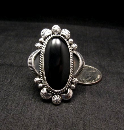 Image 0 of Navajo Native American Black Onyx Ring Sz12, Gilbert Tom
