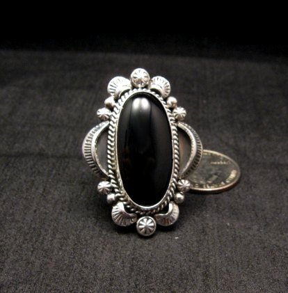 Image 1 of Navajo Native American Black Onyx Ring Sz12, Gilbert Tom
