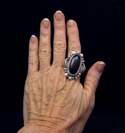 Image 3 of Navajo Native American Black Onyx Ring Sz12, Gilbert Tom