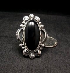 Navajo Native American Black Onyx Ring Sz12, Gilbert Tom