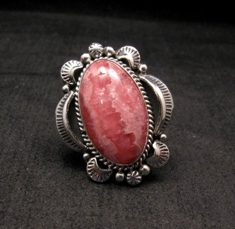 Image 0 of Native American Rhodochrosite Sterling Ring Sz7-1/2, Navajo Gilbert Tom