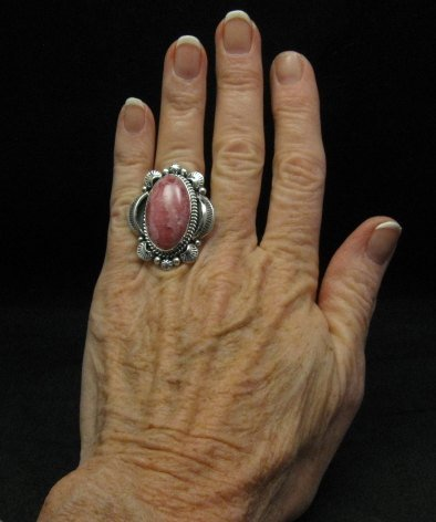 Image 2 of Native American Rhodochrosite Sterling Ring Sz7-1/2, Navajo Gilbert Tom