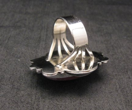 Image 3 of Native American Rhodochrosite Sterling Ring Sz7-1/2, Navajo Gilbert Tom