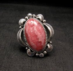 Native American Rhodochrosite Sterling Ring Sz7-1/2, Navajo Gilbert Tom
