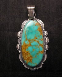 A++ Huge Navajo Native American Turquoise Sterling Silver Pendant, Gilbert Tom