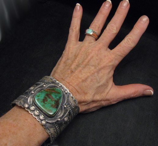 Image 1 of Wide Navajo Native American Royston Turquoise Sterling Bracelet, Gilbert Tom