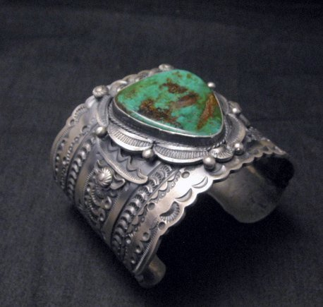 Image 2 of Wide Navajo Native American Royston Turquoise Sterling Bracelet, Gilbert Tom