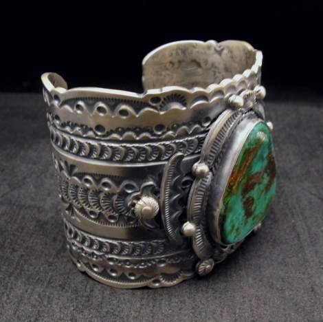 Image 3 of Wide Navajo Native American Royston Turquoise Sterling Bracelet, Gilbert Tom