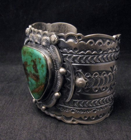 Image 4 of Wide Navajo Native American Royston Turquoise Sterling Bracelet, Gilbert Tom