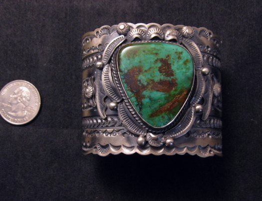 Image 6 of Wide Navajo Native American Royston Turquoise Sterling Bracelet, Gilbert Tom