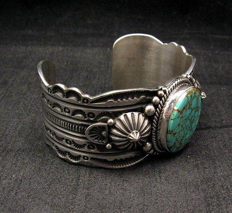Image 4 of Navajo Revival Style Silver Natural Turquoise Bracelet, Gene Natan