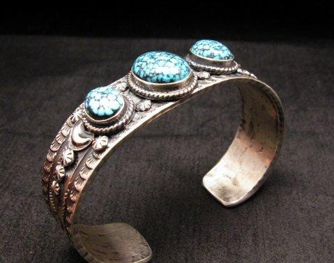 Image 4 of Navajo Native American Kingman Web Turquoise Row Bracelet, Gilbert Tom
