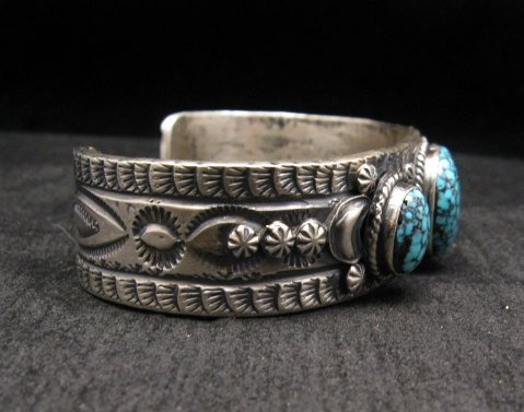 Image 3 of Navajo Native American Kingman Web Turquoise Row Bracelet, Gilbert Tom