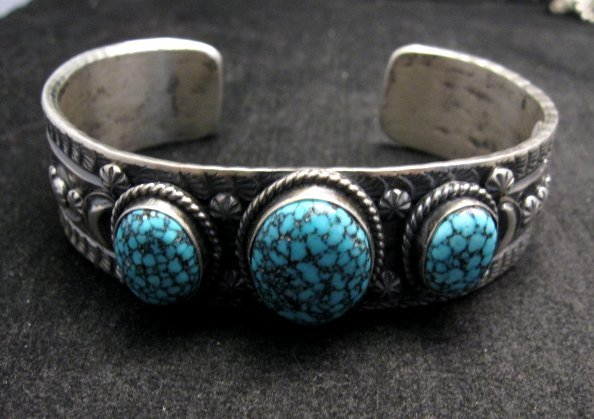 Image 5 of Navajo Native American Kingman Web Turquoise Row Bracelet, Gilbert Tom