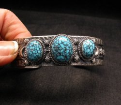 Navajo Native American Kingman Web Turquoise Row Bracelet, Gilbert Tom