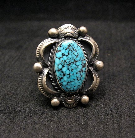 Image 0 of Navajo Old Pawn Style Kingman Web Turquoise Ring sz7-3/4, Gilbert Tom