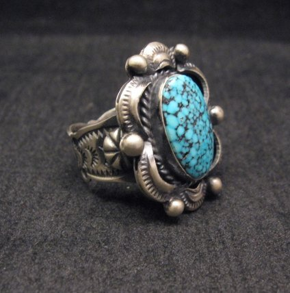 Image 1 of Navajo Old Pawn Style Kingman Web Turquoise Ring sz7-3/4, Gilbert Tom