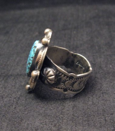 Image 2 of Navajo Old Pawn Style Kingman Web Turquoise Ring sz7-3/4, Gilbert Tom
