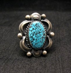 Navajo Old Pawn Style Kingman Web Turquoise Ring sz7-3/4, Gilbert Tom