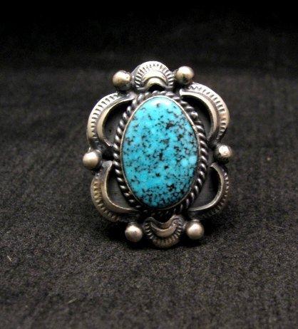 Image 0 of Navajo Native American Kingman Web Turquoise Ring sz8, Gilbert Tom