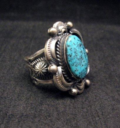 Image 1 of Navajo Native American Kingman Web Turquoise Ring sz8, Gilbert Tom
