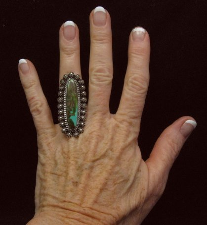 Image 1 of Long Navajo American Indian Royston Turquoise Silver Ring, Happy Piasso sz6-1/2