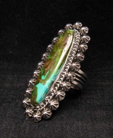 Image 2 of Long Navajo American Indian Royston Turquoise Silver Ring, Happy Piasso sz6-1/2