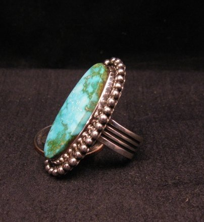 Image 2 of Navajo Native American Kingman Turquoise Ring, Happy Piasso sz6-3/4