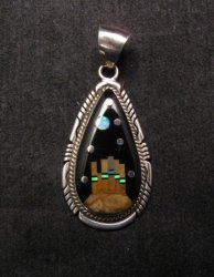 Navajo Inlaid Monument Valley Night Sky Pendant, Matthew Jack