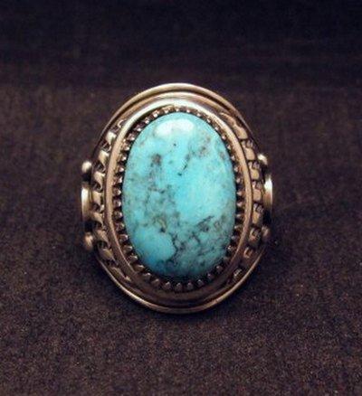 Image 0 of Native American Navajo Derrick Gordon Turquoise Mens Ring Sz10-1/2