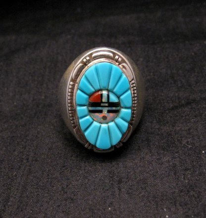 Image 0 of Navajo, Albert Tapaha, Turquoise Sun Face Inlay Ring Sz12
