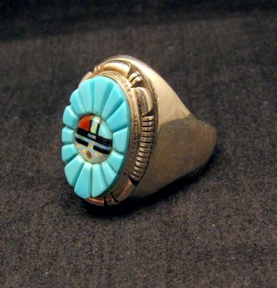 Image 2 of Navajo, Albert Tapaha, Turquoise Sun Face Inlay Ring Sz12
