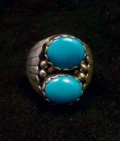 Image 0 of Navajo Native American Turquoise Sterling Silver Ring, sz10