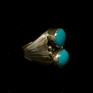 Image 1 of Navajo Native American Turquoise Sterling Silver Ring, sz10