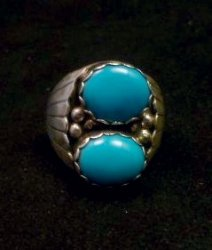 Navajo Native American Turquoise Sterling Silver Ring, sz10