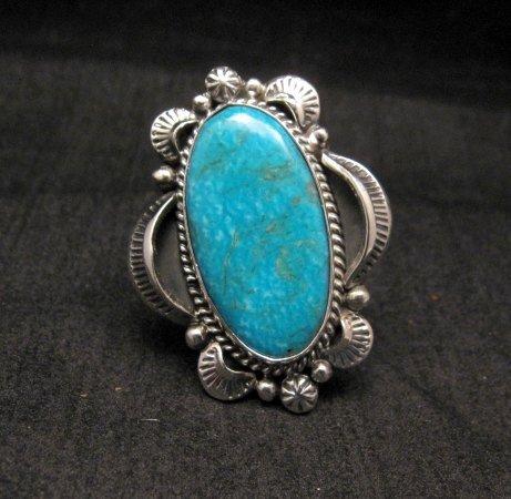 Image 0 of Navajo Native American Kingman Turquoise Ring Sz10-3/4, Gilbert Tom