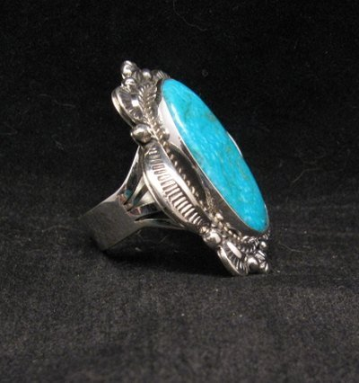 Image 1 of Navajo Native American Kingman Turquoise Ring Sz10-3/4, Gilbert Tom